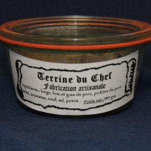 Présentation d'une conserve de terrine du chef